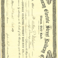 Conway Electric Street Railway Company Stock Certificate Issued to Arthur P. Delabarre, February 29, 1908