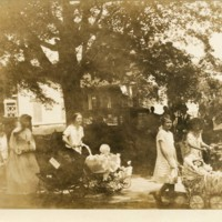 Photograph of Hassell Family Women Pushing Baby Carriages in Parade