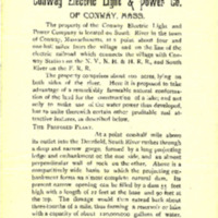 Prospectus of the Conway Light &amp; Power Company, 1897<br /><br /> <br /><br />