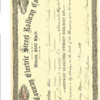 Conway Electric Street Railway Company Stock Certificate to Conway National Bank, 1909
