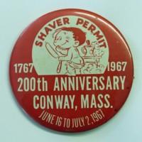 """Bicentennial """"Shaver Permit"""" Button"""