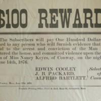 Reward Notice for 1876 Crime