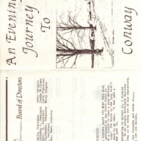 """Program for Arena Civic Theatre Production of """"An Evening's Journey to Conway, Massachusetts,"""" by Archibald MacLeish"""
