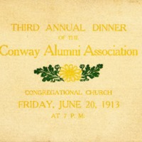 Program for Conway Alumni Association Third Annual Dinner, 1913