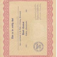 Bicentennial Beard Contest Participation Certificate