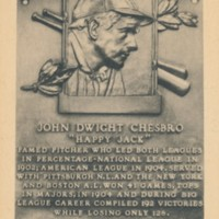 Postcard of Jack Chesbro's Hall of Fame Plaque