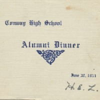 Program for Conway High School Alumni Dinner, 1911