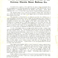 Conway Electric Street Railway Company Committee Report and Stock Proposal to the Stockholders of the Company, 1903
