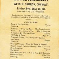 Conway Methodist Episcopal Church, Old Folk's Entertainment Program