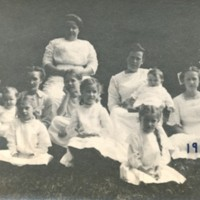 Photograph of Women and Children on Library Lawn, 1912