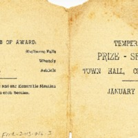 Temperance Prize Speaking Competition Program, 1903