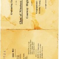Conway High School Graduation Program, 1926&lt;br /&gt;<br /> &lt;br /&gt;<br />