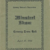 Program for Conway Veterans' Association 1931 Minstrel Show