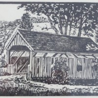 Block Print of Conway Covered Bridge