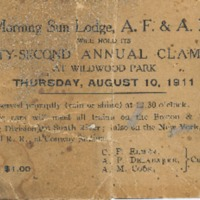 Postcard Announcement of Morning Sun Lodge Clam Bake