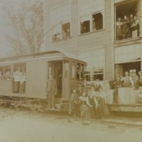 Photograph of  Electric Street Railway Car at DeWolfe & Co. Shoe Factory