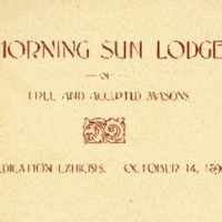 Morning Sun Lodge Dedication Exercises Program, 1896