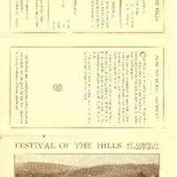 Program for 1915 Festival of the Hills