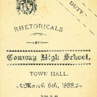 Program for Conway High School Rhetoricals, 1888