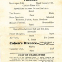 "Program for ""Captain Racket,"" a Comedy in Three Acts"