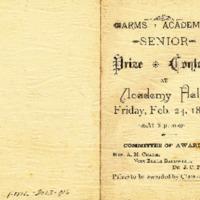 Program for Arms Academy Senior Prize Contest, 1888