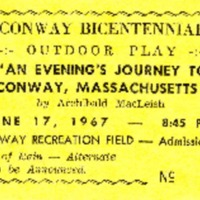 "Ticket to ""An Evenings' Journey to Conway, Mass., by Archibald MacLeish,"" June 17, 1967"