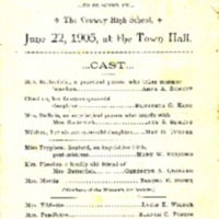"""Conway High School 1905 Play Program for """"Sunbonnets"""""""