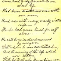 """In Memoriam"" Poem by Mattie Seffens, Dedicated to Mary Cook"